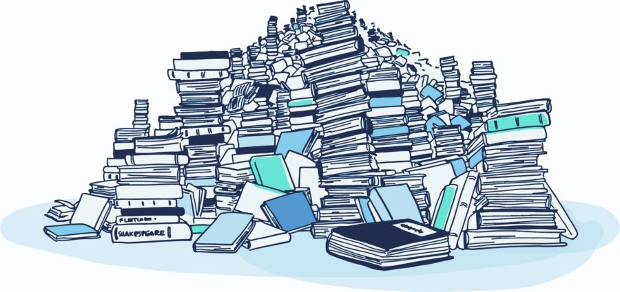 Giant piles of books